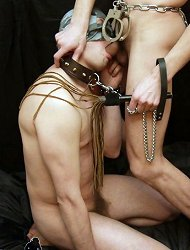 Slave has to lick both his master%uFFFDs pole and his asshole!