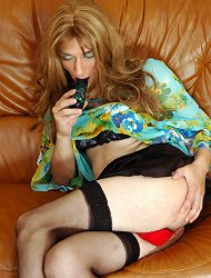 Hot sissy in barely black nylons plays with a dildo aching for a real thing