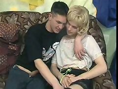 Cute twink in blond wig, blouse and miniskirt sucks his boyfriend\\\'s cock in 69 position