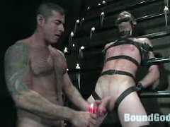 Master Nick Moretti pours hot wax all over cj%uFFFDs body and makes him beg to cum.