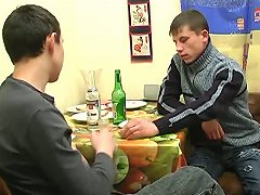 Two fellas stay in the kitchen drinking some beer and talking some stuff. Well, after some time they get completely drunk and finally make their fantasies to get ass-drilled come true. That action keeps on with fuck right in the middle of the kitchen on t