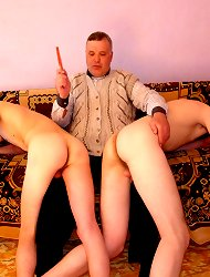 You will lose your mind on seeing this horny fellow of older age spank three young lads in fit of unbound lust. Sure, experienced buddy certainly knows how to bring sexy twinks really strong pain. He makes them stand doggystyle then flogs their asses, usi