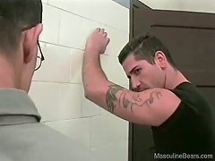 This guy had great timing, and got to participate in a gay threesome in the bathroom
