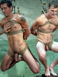 Nick Moretti plays with two naked studs, DJ and Christian Wilde, in the slaughterhouse.