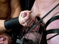 Spencer Reed fucks CJ in bondage and cums in buckets.