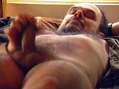 Outdoorsy guy jerks his hairy old dick