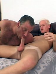 Blond twink mounts the dick of an old gay bear