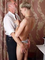 Horny old gay man fucks a hot young guy%uFFFDs skinny ass really hard