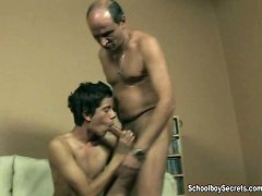 Masturbating twink drools all over a hard old cock