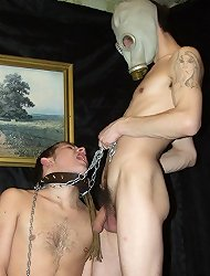 A masked master administers pain and suffering on a gullible gayboy!