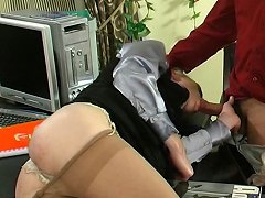 Kickass sissy guy getting pounded up his tight poop chute right in office
