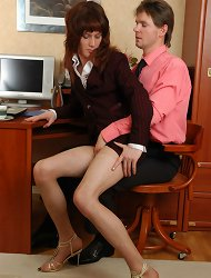 Hot sissy guy luring his co-worker into ass-pounding fucking in the office