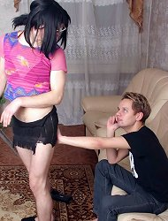 Crossdressed queer twink cheats a handsome hunk into railing his bunghole