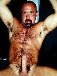 Hot gay bear Alex flaunts his hot hairy body and jerking off his huge erection