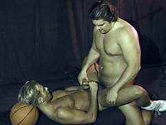 Two hard dicks get sucked on by beefy men before he rams his muscular jock butt