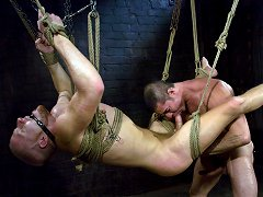 Slicked up Nick Moretti ties up, flogs and fucks his studly slave boy luke riley.