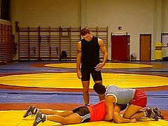 Trainer sees promise in his wrestling students when they suck his jock dick