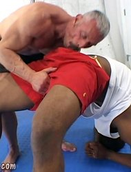 Old muscleman lets a huge black shaft up his ass
