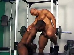 Two black studs take turns in sucking